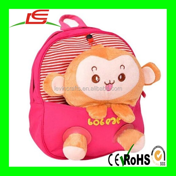 Cute Plush Animal Backpack Lovely red monkey school bags