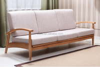 solid oak furniture natural color three seat sofa