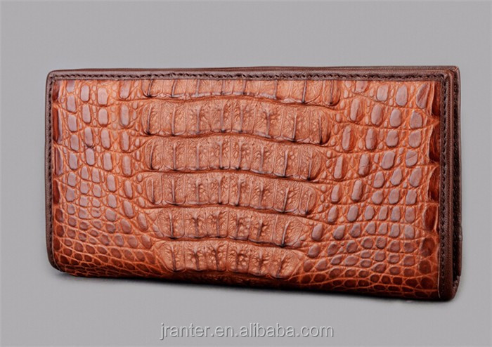 Fashion Long Bifold Wallet for Men Genuine Caiman Crocodile Leather Men Wallet