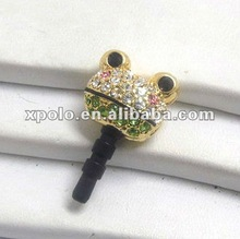 Crystal Flog Head Gold Plated Ear Cap Dust Plug For Mobile Phone