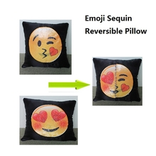 Best Selling Products 2017 Emoticon Emoji Pillow Reversible Sequin Cushions Smiley Cover In USA