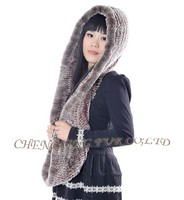 CX-C-46C Women Fashion Knitted Rex Rabbit Fur Hat And Scarf