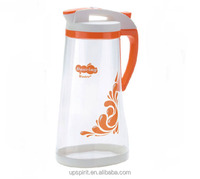 New 2014 2L Larger Capacity Food Grade Safe Clear Plastic PP Fruit Orange Pitcher with Three Colors Pressing Lid and Handle