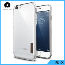 Clear slim transparent acrylic plastic back cover flexible TPU silicone frame bumper hybrid case for iPhone 6