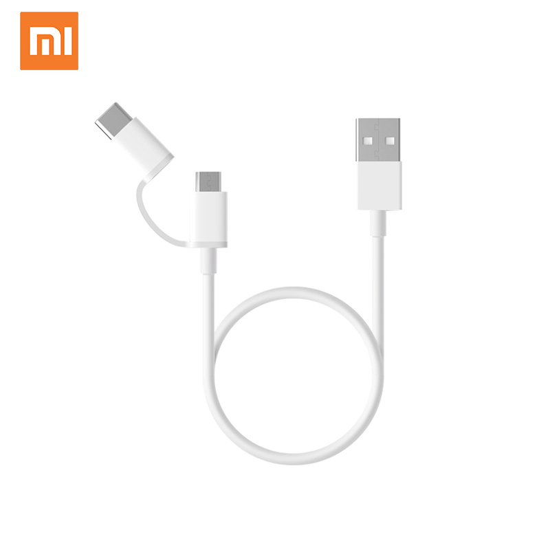 Original Xiaomi Mi 2-in-1 USB Cable Micro USB to Type <strong>C</strong> 30cm Conversion Cable Data Cable