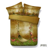 Bed sheet Fairy Swing and Butterfly Latest 3d HD digital print bedding 3d set