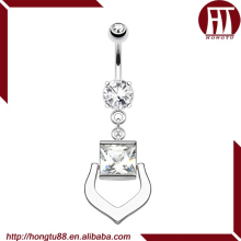 HT Square Single Clear CZ gem Harp Shaped Ornament Dangle 316L Stainless Steel Belly Button Navel Piercing Ring
