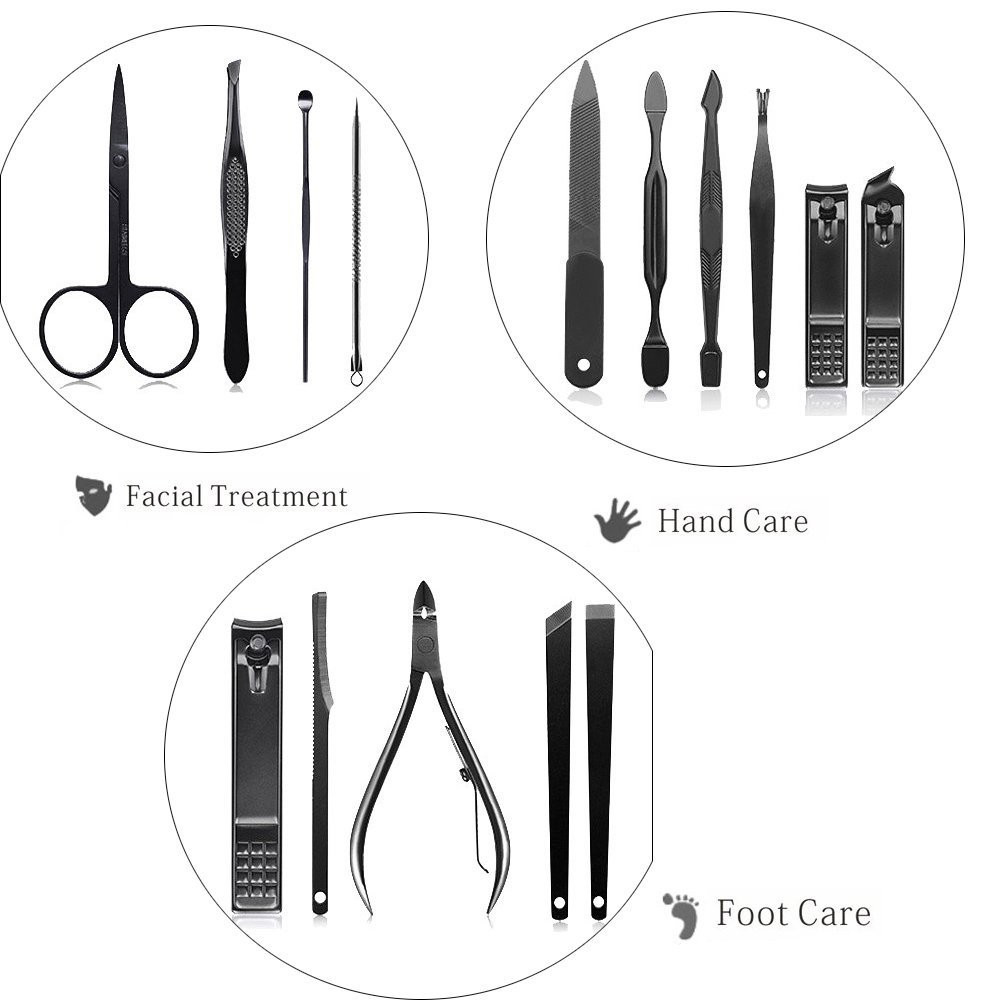 Nail care black tools manicure set with leather case
