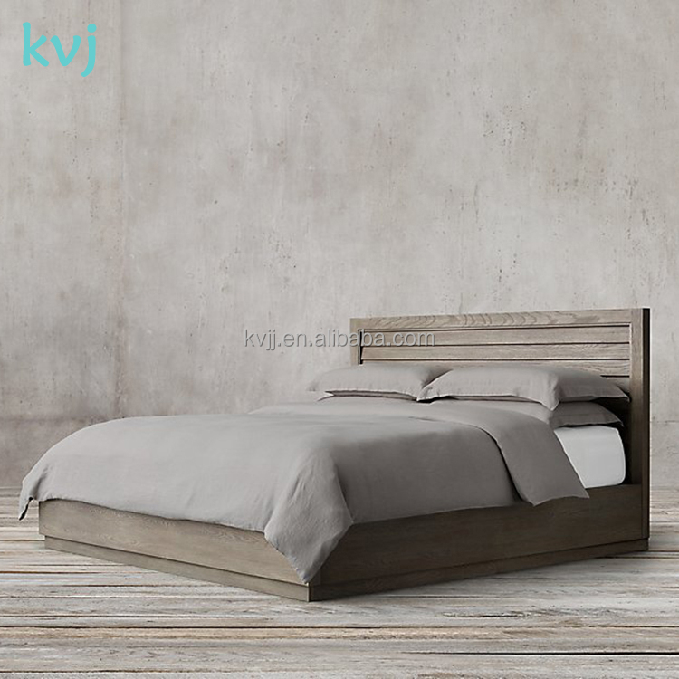 KVJ-7668 vintage dark color nordic elegant wood double bed king and queen bed