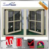 heat preservation aluminum frames casement window with glass blinds for container house
