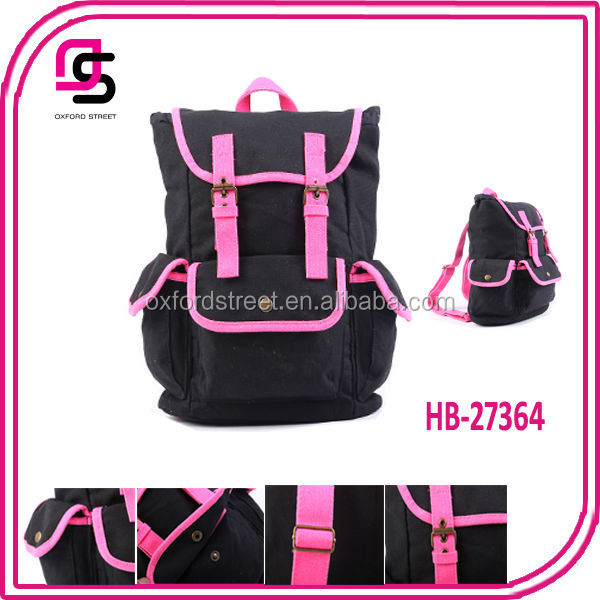 2014 good quality fashion pink PU triming canvas backpack for <strong>school</strong>