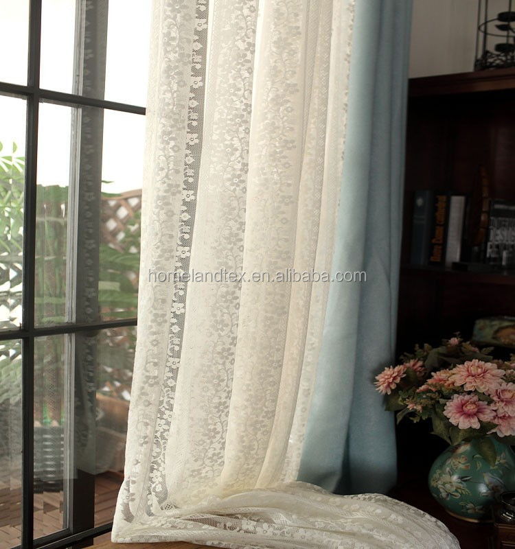 White flower Home decorate Kitchen Lace Sheer Cafe Curtain