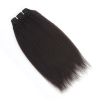 Afro kinky straight virgin remy Brazilian hair extensions natural pure color,16'' wholesale price
