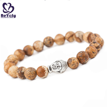 Simple style wooden beads chain design silver slide bracelet