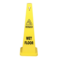 Caution wet floor sign, Yellow, 2-sided wet floor free standing caution