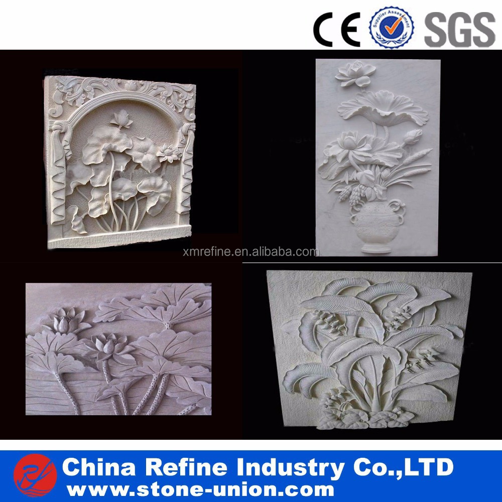 Stone wall relief carving lotus ornament buy