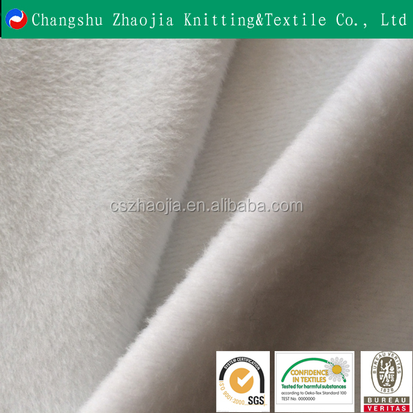 Polyester Warp Bleached Brushed Velboa Knit Fabric for T-shirts and Garments