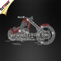 Iron On Motorcycle Nailhead Motif Bling Custom Transfer for Garment