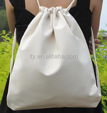 Nature color 100 % cotton foldable cute drawstring backpack bag