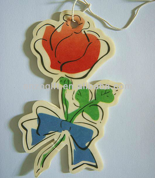 rose shaped air freshener, flower scent paper freshener for car