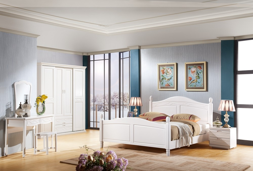 Simple solid wood bedroom furniture white double bed designs 3105