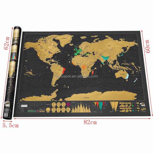 Black and Gold printing paper world map poster