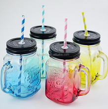 Can be customized logo Colourful 16oz glass drinking wide mouth glass mason jar with handle and tin lid for Christmas Day