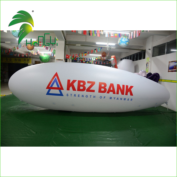 Hongyi Wholesale Advertising 4M Inflatable Zeppelin Balloon , Giant White RC LED Blimp For Outdoor
