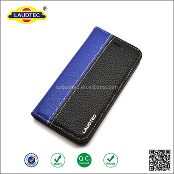 Premium Litchi Pattern Genuine Leather Magnetic Wallet Case for iPhone 6s With Stand Function