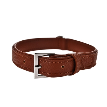 Pet star custom brown leather luxury cute adjustable dog collar