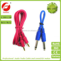 Audio cable with adapter leads cable,3.5mm stereo to 6.35mm mono music audio cable,stereo plug to 2mono plug y adaptor cable