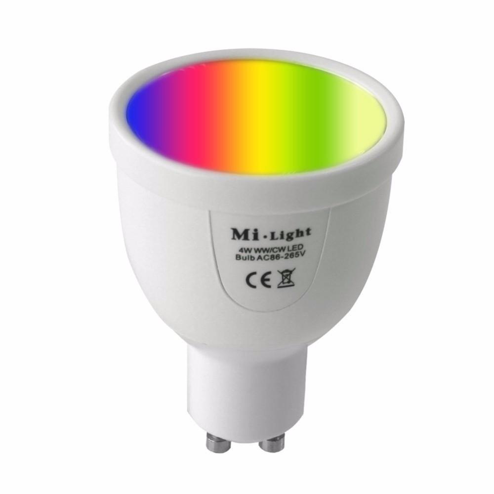 4W GU10 LED 2.4G Wireless RF Dimmable RGB and Cold White Led Spotlight + RGB RF Touch Remote Controller FUT096