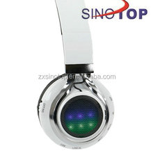 Bluetooth 3.0 Stereo Headphone with Disco Lights FM Radio Micro -SD and Microphone built in Rechargeable Battery