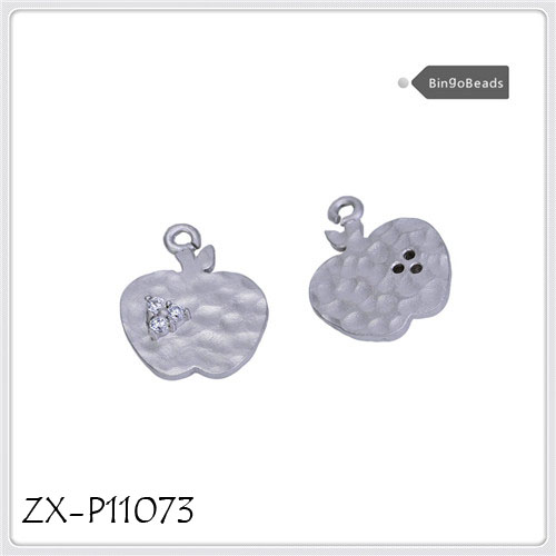 Apple Charms,Antique Silver Tone Two Sided Mini Apple Charm Pendant. necklace pendant ZX-P11073
