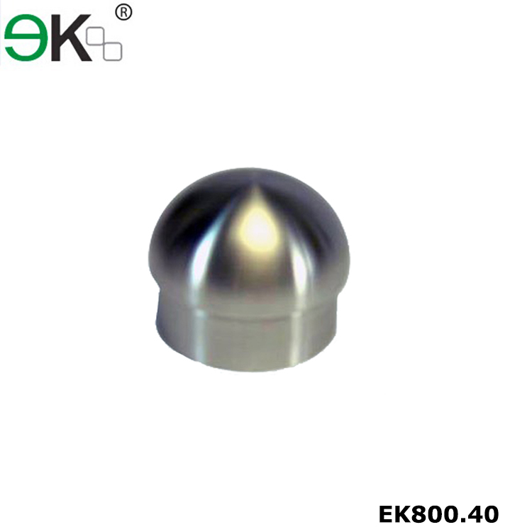 Stainless steel glass stair railing end cap for steel bar