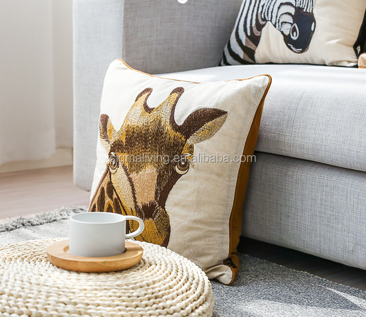Hot sale simple design square shape embroidered cushion cover