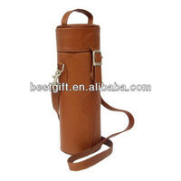 Top quality wine bottle case carrier holder bag round leather wine carrier