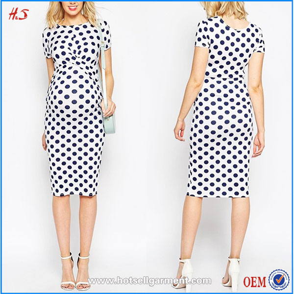 Hot Sale Women Pregnancy Maternity Clothes Jersey Bodycon Dress In Spot Print With Cross Front 2015