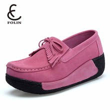 Hot Sale Women Flat Platform Loafers Ladies Suede Leather Moccasins Fringe Shoes Slip On Tassel Cheap Women's Casual Shoes 2018