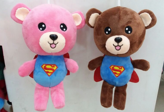 New design good quality 7 inch plush bear with cloak,2 color PP cotton stuffed plush bear