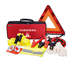 cheap 7PCS Auto emergency kits for promotion Warning triangle / Safety vest / Boster cable / Towing rope / SOS flag