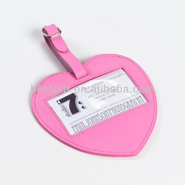 wedding pink leather heart shape luggage tag