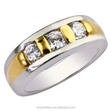 Light weight 3g gold rings two tone diamond 10k gold rings