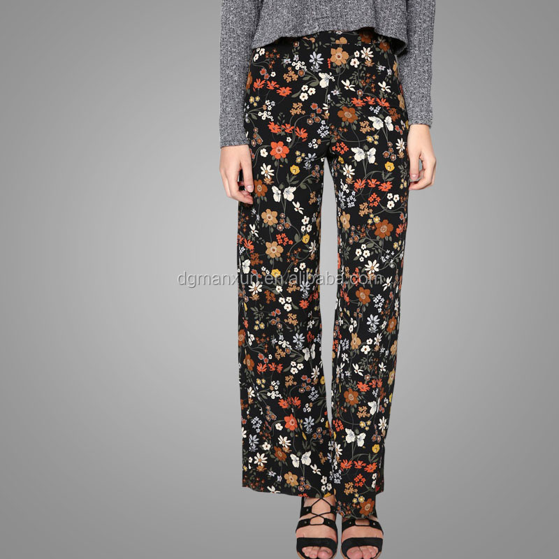 New fashion style dark floral casual loose wide leg trousers for women