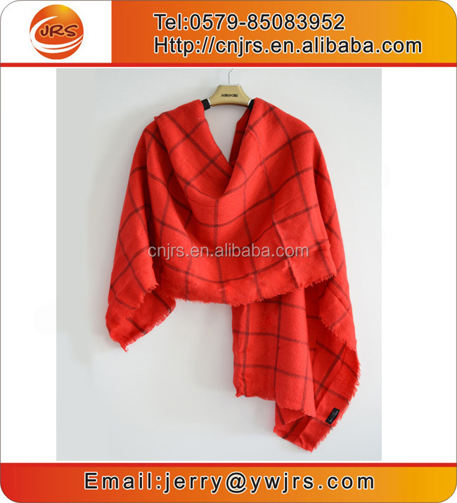 Fashionable winter pashmina scarf black and red plaid shawl scarfs