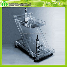 DDA-0002 ISO9001 Chinese Factory Wholesale SGS Test Luxury Glass Tea Serving Trolley With Wheels
