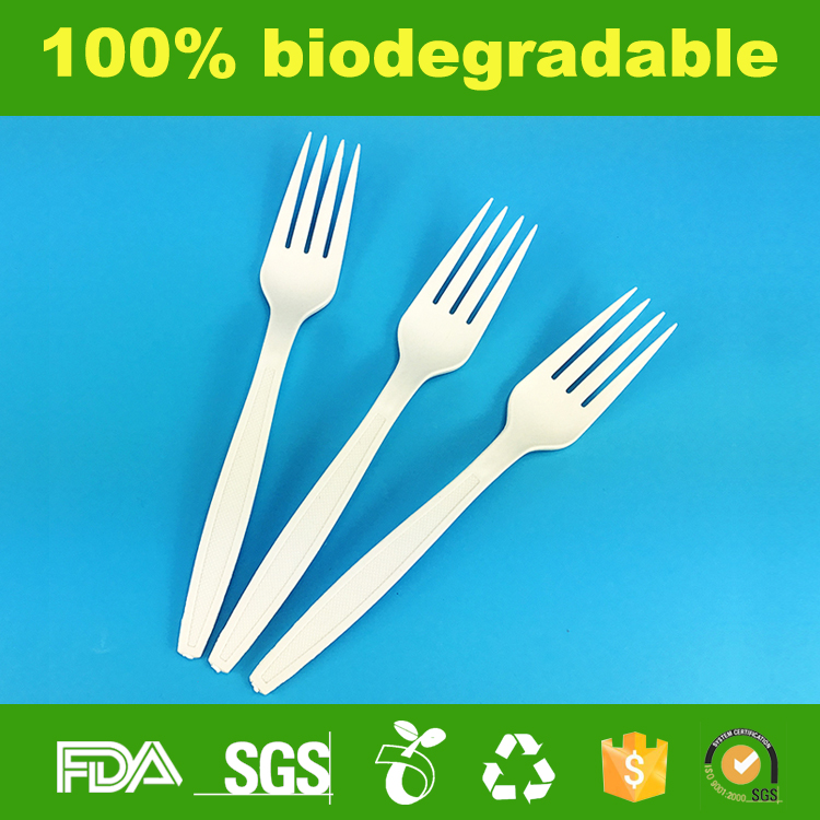 Ecofriendly Cornstarch Biodegradable Disposable Corn starch forks 18cm plastic fork disposable plastic spoon and fork