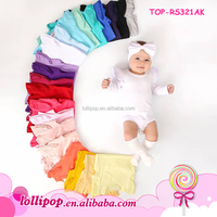 Children's Boutique Clothing Knit Triple Fluttter Sleeve Baby Clothes Wholesale Ruffle Rompers