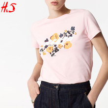 new arrival dong guan wholesale t shirt printing factory fasion woman floral cheap t shirt