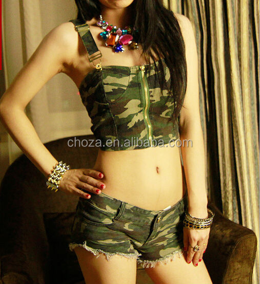 C53886S LATEST STYLE FASHION CAMOUFLAGE PATTERN WOMEN CROP TOPS